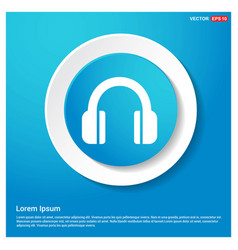 headphone icon abstract blue web sticker button vector image
