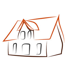 house drawing on white background vector image