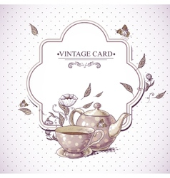 Invitation vintage card with cup pot and flowers vector