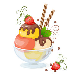 Isolated ice cream on white with strawberry vector
