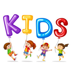 Kids with colorful balloons for word kids vector