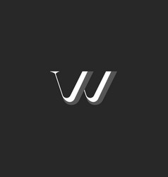 letter w logo minimal monogram faceted style vector image