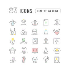 line icons feast all souls vector image