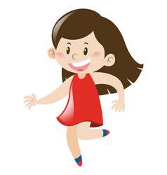 little girl in red dress runs vector image