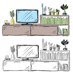 living room television and furniture doodle vector image