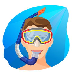 man in diving mask underwater person in vector image