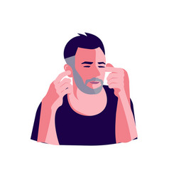 Man is covering his ears vector