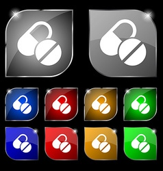Medical pill icon sign Set of ten colorful buttons vector image