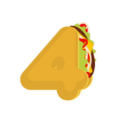 Number 4 tacos mexican fast food font four taco vector