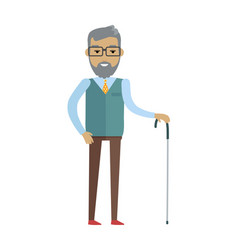 old bearded man with walking stick vector image