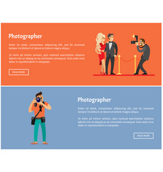 Paparazzi and photographer online banners set vector