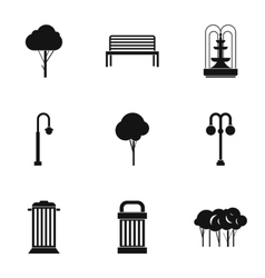 Park equipment icons set simple style vector image