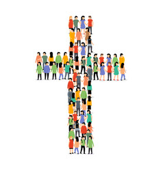 people cross group crowd christian church jesus vector image