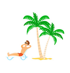person lying on chaise lounge sunbathing vector image
