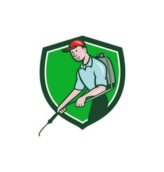 Pest Control Exterminator Spraying Crest Cartoon vector