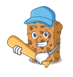 Playing baseball granola bar character cartoon vector