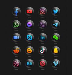 popular social media network modern 3d black vector image
