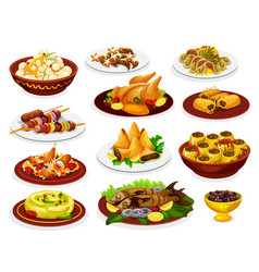 Ramadan iftar dishes with meat fish and desserts vector