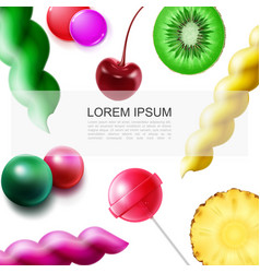 Realistic fruit sweet products template vector