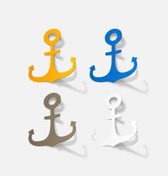 Realistic paper sticker anchor vector