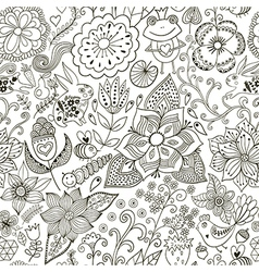 Romantic doodle floral texture copy that square to vector
