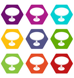 Round table icons set 9 vector