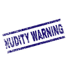 Scratched textured nudity warning stamp seal vector