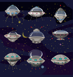 Set flying saucer spaceship ufo vector