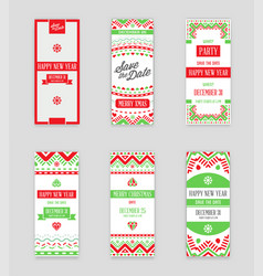 set of happy new year or merry christmas theme vector image