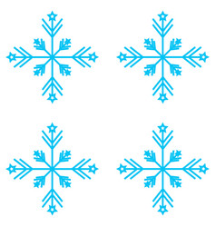 set of nine snowflakes thin vector image