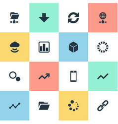 set of simple data icons vector image