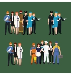 set workers team profession people uniform vector image