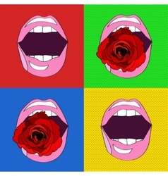 sexy pink lips in the style of pop-art vector image
