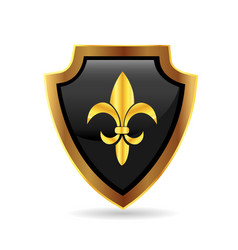 shield gold emblem logo vector image