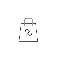 shopping bag percent icon vector image