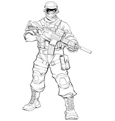 Soldier line art vector