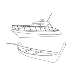 speedboat and pirogue icon vector image