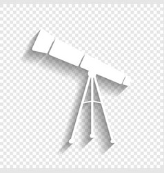 Telescope simple sign white icon with vector