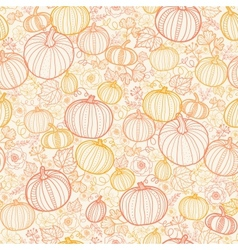 Thanksgiving line art pumkins seamless pattern vector image