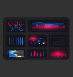 Ui ux admin panel layout template with hud vector