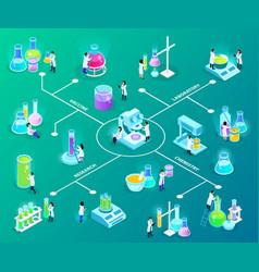 Vaccines development isometric flowchart vector