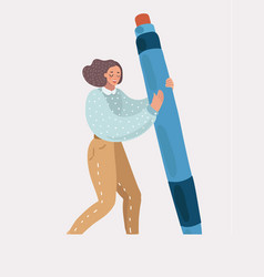 woman or girl holding in her hands a big pen vector image