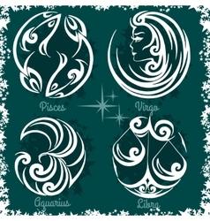 Zodiac signs - Virgo Libra Aquarius Pisces vector image