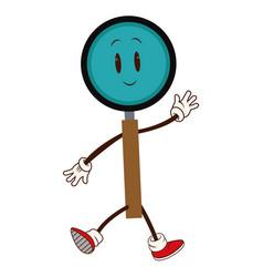 cartoon magnifier walk character cheerful vector image