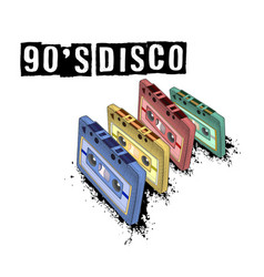 old-fashioned tape audio cassette symbol of retro vector image
