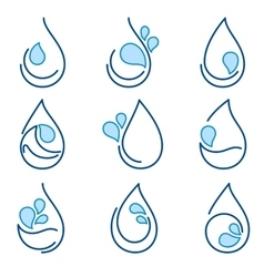 Set of water symbol templates emblems signs logo vector image vector image