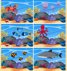 six underwater scenes with sea animals vector image vector image