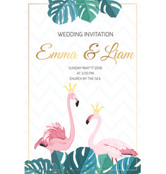 wedding invitation flamingo birds crown king queen vector image