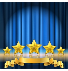 blue curtain stars vector image vector image