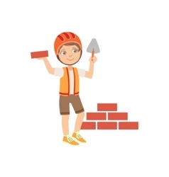 Boy Dressed As Construction Worker Laying Brick vector image